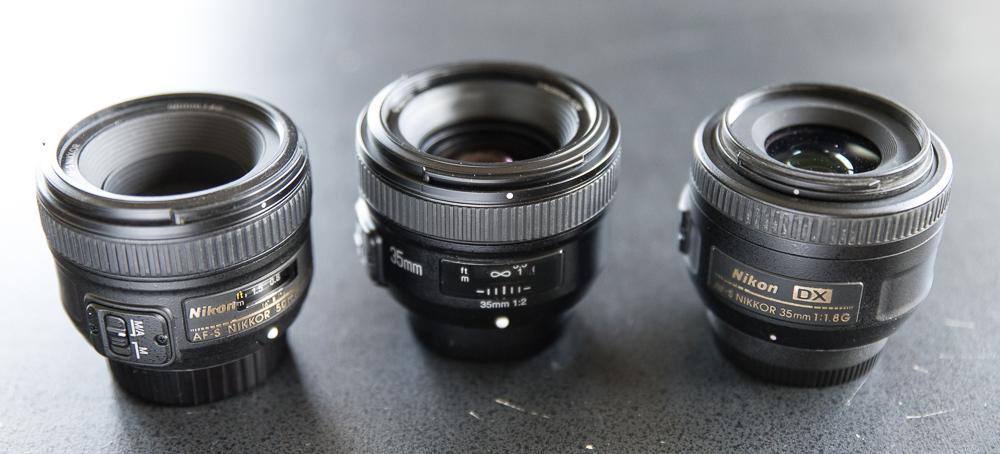 Nikon Nikkor 50mm f/1.8 G, Yongnuo 35mm f/2.0, Nikon Nikkor 35mm f/1.8 G DX
