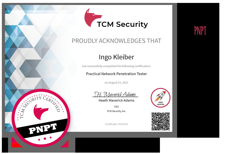 TCM Security's PNPT Certification (Certificate Ingo Kleiber)
