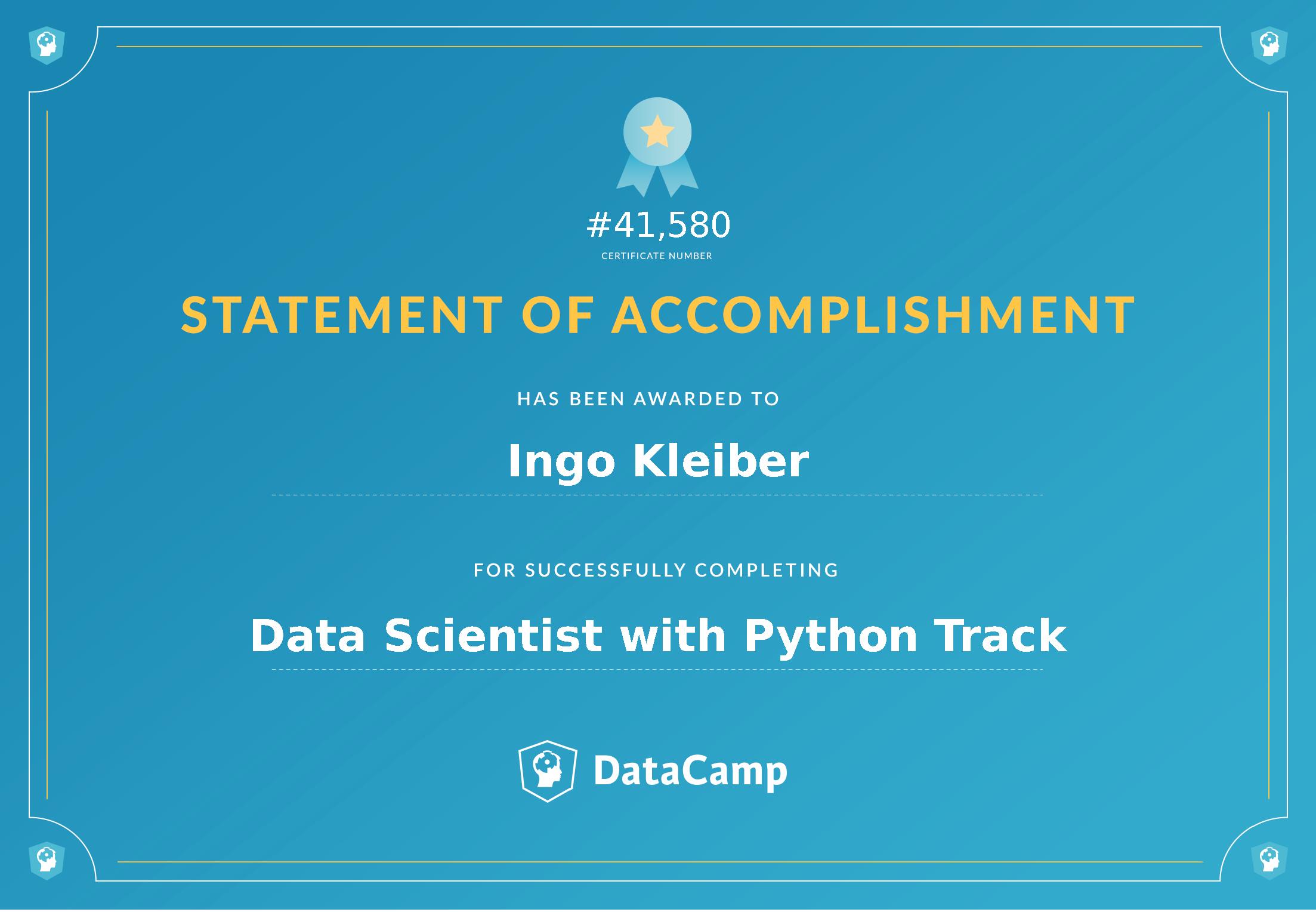 DataCamp Certificate (Data Science, Ingo Kleiber)