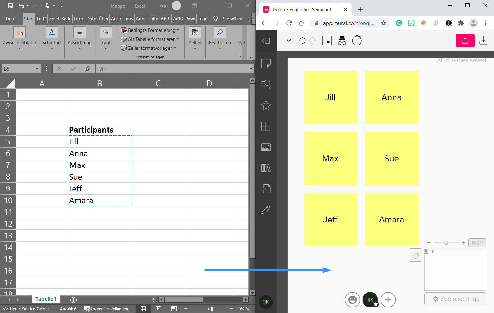Copy and paste text from Excel to MURAL
