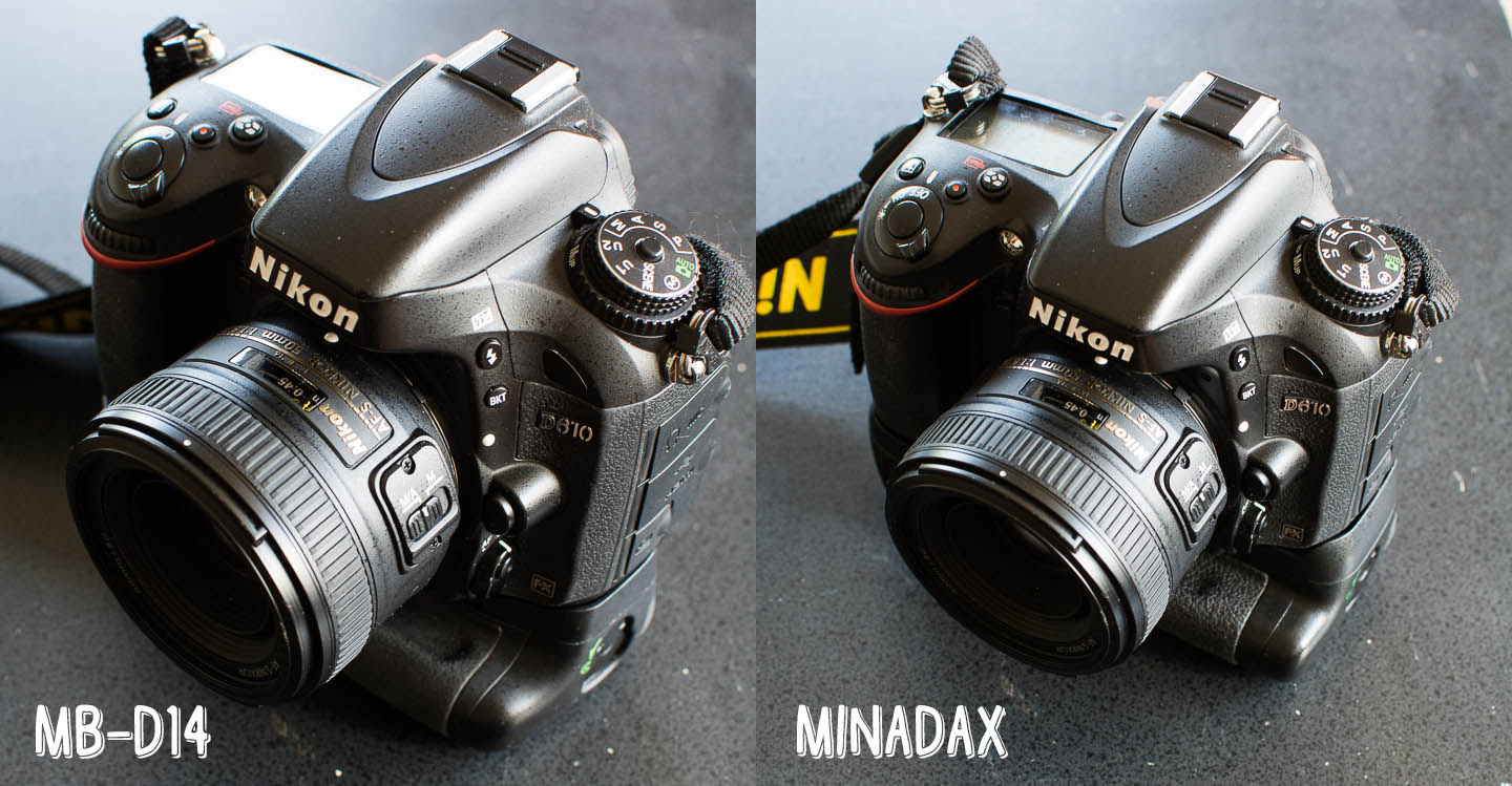 Nikon MB-D14 vs. Minadax Clone - Camera Attached