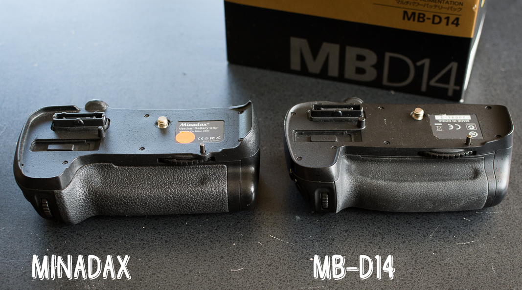 Nikon MB-D14 vs. Minadax Clone - Size Comparison