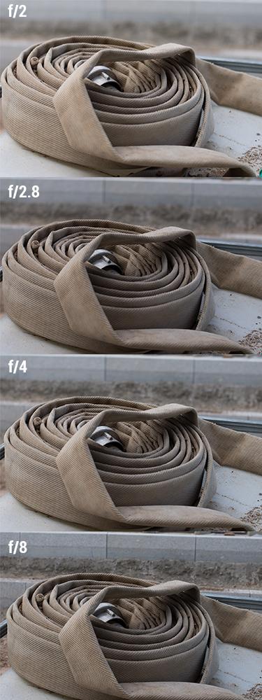 Yongnuo 35mm f/2.0 up until f/8.0 aperture comparison